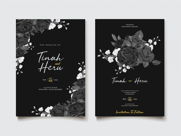 Blumeneinladungsthema des schwarzen aquarells