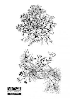 Blumenentwurf, der weinlesekollektionen färbt