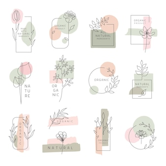 Blumenetiketten für natur- und bioprodukte set von floralen designelementen rahmen und etiketten mad