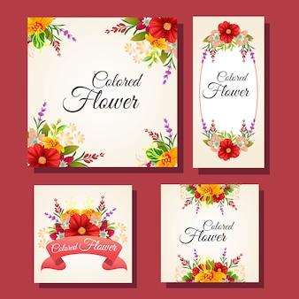 Blumenfarbenes kartenrahmenset