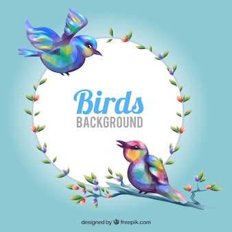 Blumenfeld mit bunten vögeln