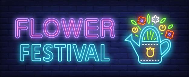 Blumenfestival-neontext mit blumen im bewässerungstopf