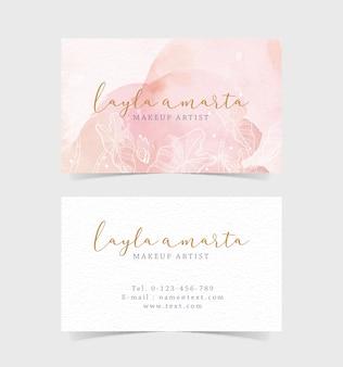 Blumenformen auf rosa spritzer visitenkarte Premium Vektoren