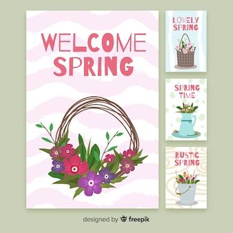 Blumenfrühlingskartensatz