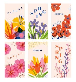 Blumenfrühlingsschablonen satz vorlagen mit strukturierten blumenelementen und kopienraum