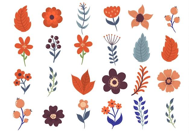 Blumenfrühlingsset mit abstrakten blumen und blatt des flachen artkritzels