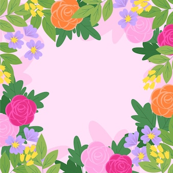 Blumenfrühlingstapete des flachen designs