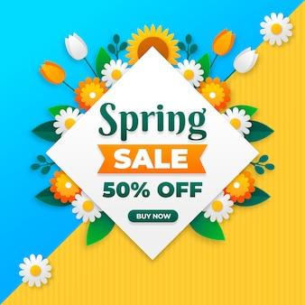 Blumenfrühlingsverkauf im papierstil