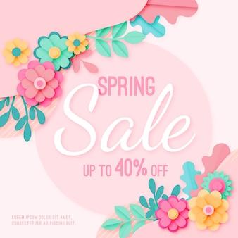 Blumenfrühlingsverkauf in der papierart