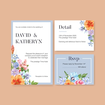 Blumengarten-hochzeitskarte mit akelei, vinca-aquarellillustration.