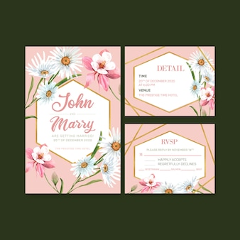 Blumengarten-hochzeitskarte mit gänseblümchen, akelei-blumenaquarellillustration.