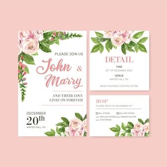 Blumengarten-hochzeitskarte mit kletternder rosafarbener aquarellillustration.