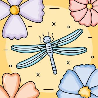 Blumengarten mit kleinem kawaii charakter der drachenfliege