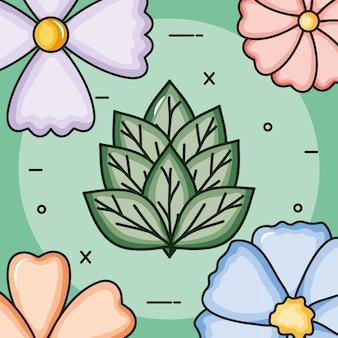 Blumengarten pflanzt dekorativen rahmen