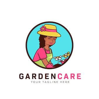 Blumengartenlandschafts- und rasenpflege-logo mit bescheidener afrikanischer gärtnerfrau-maskottchenillustration