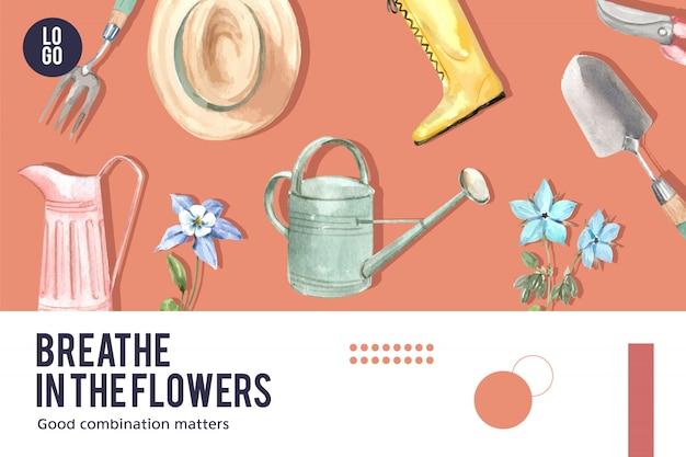 Blumengartenrahmen mit borage, akelei-blumenaquarellillustration.