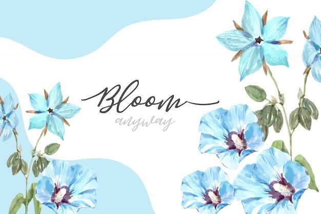 Blumengartenrahmen mit hibiscus syriacus, borageaquarellillustration.