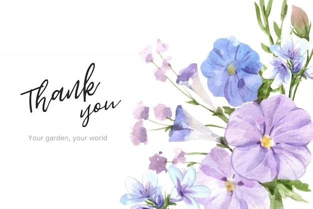 Blumengartenrahmen mit linum aquarellillustration.