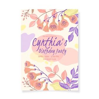Blumengeburtstagseinladungskartenschablone