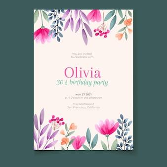 Blumengeburtstagseinladungsschablone