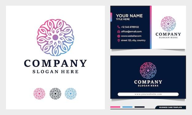 Blumengeometrie-logo-designvektor, kann spa, salon, yoga, schönheit, dekoration mit visitenkartenschablone verwenden