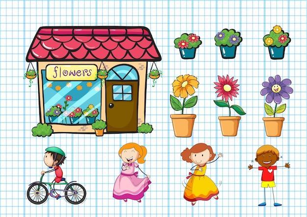 Blumengeschäft und topfpflanzen illustration