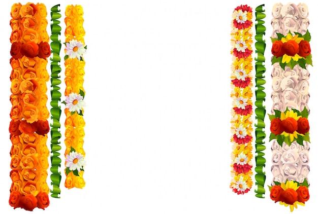 Blumengirlande stieg und verlässt für indisches traditionelles feiertag ugadi