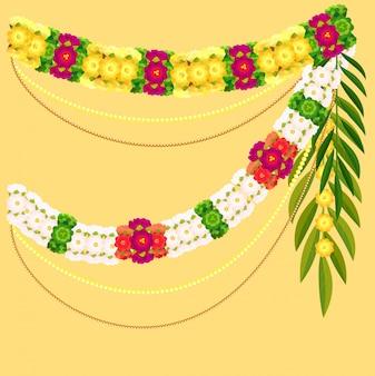 Blumengirlande und palmblatt. traditionelle aufwändige dekoration inder mala