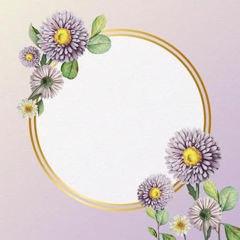 Blumengoldrahmen auf lila hintergrund