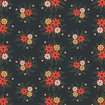 Blumengrafik für kleider- und modegewebe, bunte blumenkranz-efeuart mit niederlassung und blätter. nahtlose muster hintergrund.