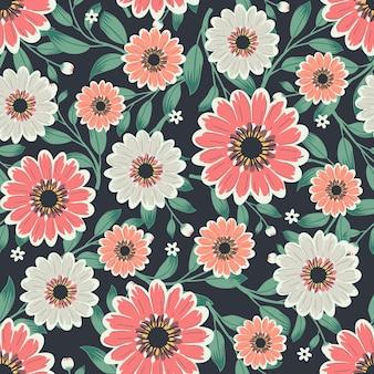 Blumengrafik für kleider- und modestoffe, kosmosblumen winden efeuart mit niederlassung und blättern. nahtlose muster hintergrund.