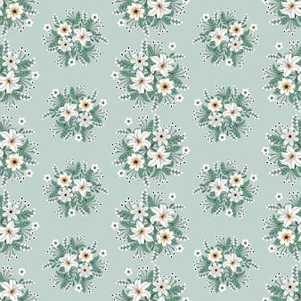 Blumengrafik für kleider- und modestoffe, kranz-efeuart der weißen blumen mit niederlassung und blätter. nahtlose muster hintergrund.