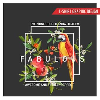 Blumengrafikdesign. granatapfel und papageien-vogel-hintergrund
