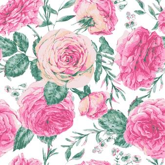 Blumengrußkarte der vektorweinlese mit rosa rosen