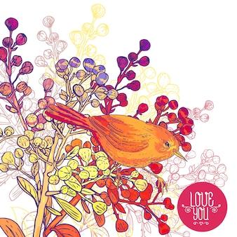 Blumengrußkarte mit vögeln und niederlassungen