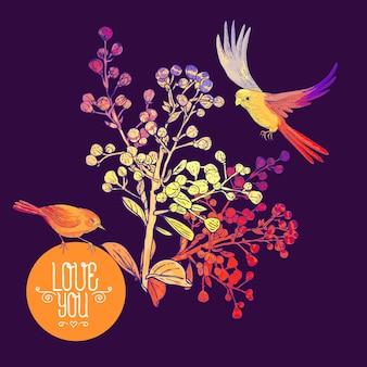 Blumengrußkarte mit vögeln und zweigen