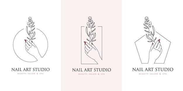 Blumenhände und nägel logo nail art studio