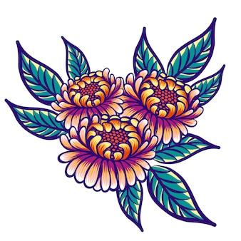 Blumenhand gezeichnete weinleseblumen