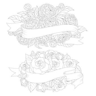 Blumenhand gezeichneter blumenstrauß mit verdrehtem band
