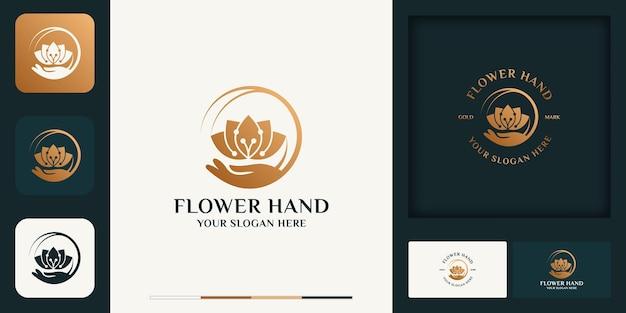 Blumenhand modernes vintage-logo-design und visitenkarte