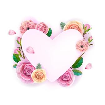 Blumenherz blumen valentinstag liebesrahmen, hintergrund mit rosen, anemone, knospen, blütenblätter, blätter. romantische feiertagshochzeit