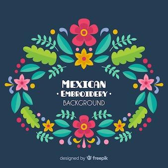 Blumenhintergrund der mexikanischen stickerei