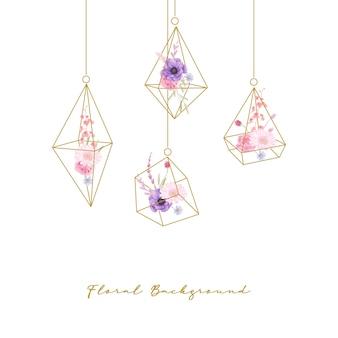 Blumenhintergrund mit aquarellrose-, anemonen- und gerberablumen im terrarium