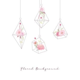 Blumenhintergrund mit aquarellrosen, dahlien- und gerberablumen im terrarium
