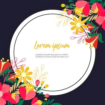 Blumenhintergrund mit blumen- und kreisrahmen