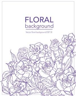 Blumenhintergrund mit blumenrosen und -niederlassungen, vektorillustration.