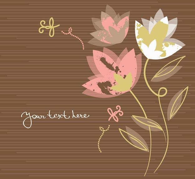 Blumenhintergrund mit cartoon-libellen