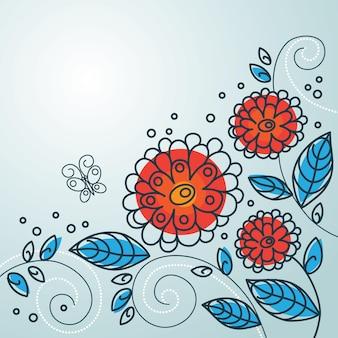 Blumenhintergrund mit cartoon-schmetterlingen