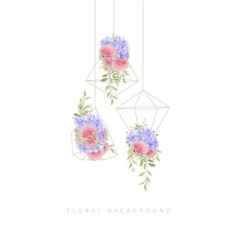 Blumenhintergrund mit rosa rosen und hortensie im terrarium