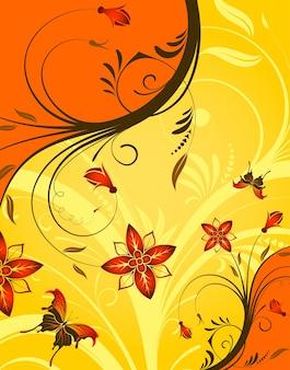 Blumenhintergrund mit schmetterling, element für design, vektorillustration